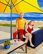 Umbrella Paintings - The Vacationers by Michelle Wiarda