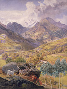 Mountain Valley Painting Framed Prints - The Val dAosta Framed Print by John Brett