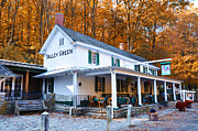 Fall Leaves Digital Art Prints - The Valley Green Inn in Autumn Print by Bill Cannon