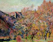 Reds Of Autumn Painting Framed Prints - The Valley of the Sedelle in Crozant Framed Print by Jean Baptiste Armand Guillaumin