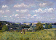 Field. Cloud Painting Prints - The Valley of the Seine at Saint Cloud Print by Alfred Sisley