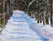 Snow Scene Pastels Posters - The Valley Road Poster by Jack Skinner