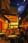 Night Cafe Digital Art Prints - The Van Gogh Cafe Print by Nop Briex