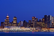 Man Made Space Prints - The Vancouver Skyline At Twilight Or Print by Rob Tilley