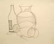 Hand Drawing Prints - The Vase and Wine Bottle Print by Teri Schuster