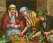 Early Painting Prints - The Vegetable Vendor Print by Edward Farber