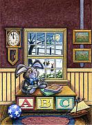 Rabbit Mixed Media Prints - The Velveteen Rabbit Print by John D Benson
