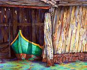 Shed Painting Posters - The Venetian Boathouse Poster by Winona Steunenberg