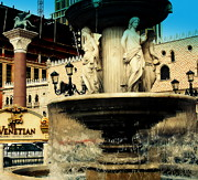 Las Vegas Art Posters - The Venetian Fountain in Las Vegas Poster by Susanne Van Hulst