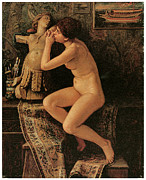 Vedder Framed Prints - The Venetian Model Framed Print by Elihu Vedder