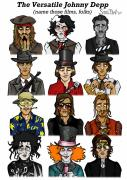Mad Hatter Digital Art Posters - The Versatile Johnny Depp Poster by Sean Williamson