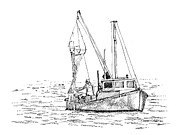New England Ocean Drawings Prints - The Vessel Little Jim Print by Dominic White