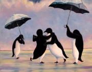 Penguin Framed Prints - The Vettriano Penguins Framed Print by Michael Orwick