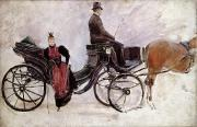 Coach Paintings - The Victoria by Jean Beraud