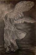 Greek Sculpture Drawings Framed Prints - The Victory of Samothrace Framed Print by Julianna Ziegler