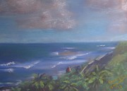Puerto Rico Pastels Posters - The View from Old San Juan Poster by Karen Sanabria
