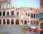 Rome Cityscape Paintings - The view of the Coliseum in Rome by Teresa Dominici