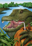 Crocodile Paintings - The Village Buddy by Lonnie Tapia
