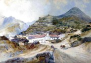 Mountain Road Painting Posters - The Village of Angangueo Poster by Thomas Moran