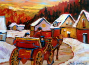 Snowy Roads Painting Prints - The Village Of Saint Jerome Print by Carole Spandau