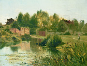Reflection Paintings - The Village Pond by Ernest Parton