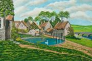 English Watercolor Paintings - The Village Pond in Wroxton by Charlotte Blanchard