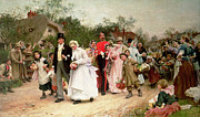 Crowd Painting Prints - The Village Wedding Print by Sir Samuel Luke Fildes