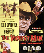 1955 Movies Prints - The Violent Men, Glenn Ford, Barbara Print by Everett