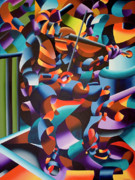 Figurative Abstract Prints - The Violin Player in Paris Print by Mark Webster