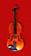 Orchestra Digital Art Framed Prints - The Violin . Red Version . Painterly Framed Print by Wingsdomain Art and Photography