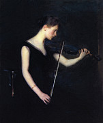 Concentration Painting Posters - The Violinist Poster by Stefan Kuhn