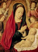 Virgin Mary Paintings - The Virgin and Child Adored by Angels  by Jean Hey