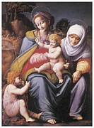 Religious Art Painting Posters - The Virgin and Child Poster by Bachiacca