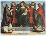 Religious Art Paintings - The Virgin and Child Enthroned by Bramantino