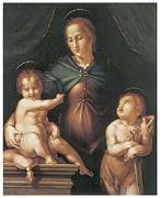 Religious Art Paintings - The Virgin and Child  by Pier Francesco Foschi