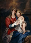 Jesus Mother Framed Prints - The Virgin and Child Framed Print by Sir Anthony Van Dyck