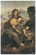 Religious Art Paintings - The Virgin and Child with Saint Anne by Leonardo Da Vinci