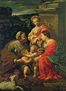 Lamb Of God Painting Posters - The Virgin and Child with Saints Poster by Simon Vouet