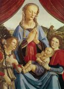  Drapery Paintings - The Virgin and Child with Two Angels by Andrea del Verrocchio