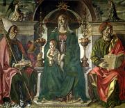 Virgin Mary Paintings - The Virgin and Saints by Francesco del Cossa