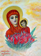 Child Jesus Paintings - The Virgin and the Child by Augusta Stylianou