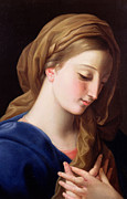 Virgin Mary Paintings - The Virgin Annunciate by  Pompeo Girolamo Batoni