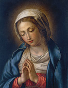 Halo Painting Framed Prints - The Virgin at Prayer Framed Print by Il Sassoferrato