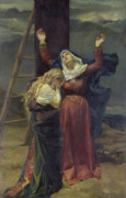 Ladder Framed Prints - The Virgin at the Foot of the Cross Framed Print by Jean Joseph Weerts