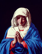 Religious Metal Prints - The Virgin in Prayer Metal Print by Il Sassoferrato