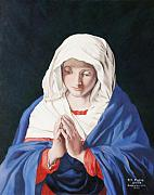 Virgin Mary Paintings - The Virgin In Prayer by Rebecca Poole