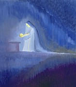 Manger Paintings - The Virgin Mary cared for her child Jesus with simplicity and joy by Elizabeth Wang