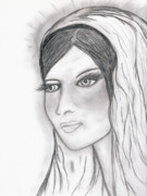 Virgin Mary Drawings Prints - The Virgin Mary Print by Sonya Chalmers