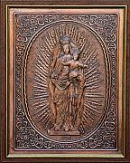 Mother Reliefs Metal Prints - The Virgin Mary with Jesus Christ Metal Print by Netka Dimoska