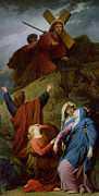 Virgin Mary Paintings - The Virgin of Calvary by Jules Eugene Lenepveu